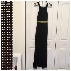 EXPRESS Maxi Dress Criss-Cross Straps Gold Black